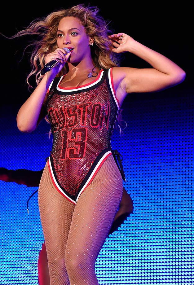 """Beyoncé wore a one-piece, sequined swimsuit version of James Harden's Houston Rockets jersey on-stage during the 2015 Made in America Festival in Philadelphia. """"I got so many tweets and pictures sent to my phone about that,"""" Harden said. He also approved via Instagram, stating """"Bey got too much swagger in that jersey!!"""""""