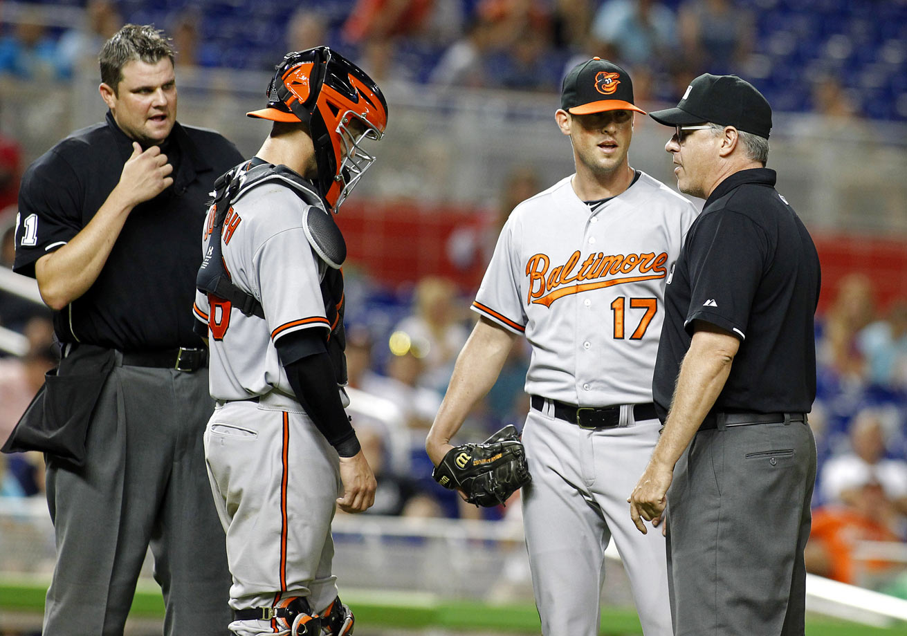 Baltimore Orioles pitcher Brian Matusz was ejected from a 1-0 13-inning loss to the Miami Marlins for having a foreign substance on his arm. Matusz was tossed in the bottom of the 12th inning after Marlins manager Dan Jennings alerted the umpires to the substance. He had just recorded the second out of the inning.
