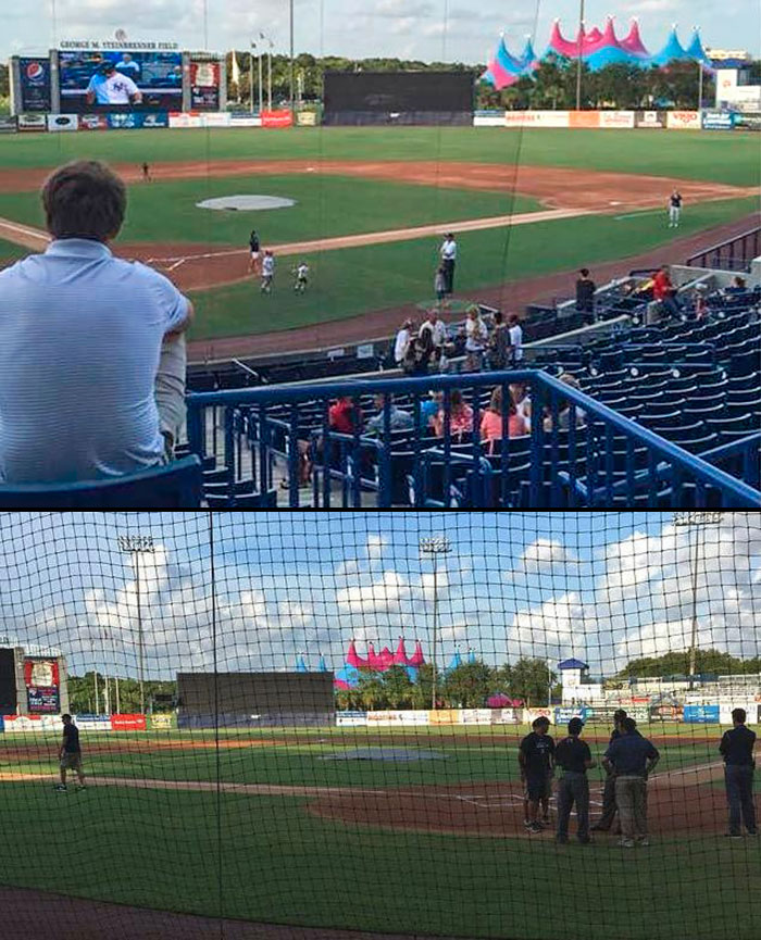 A game between the Class A Tampa Yankees and Clearwater Threshers was canceled last Friday because a circus tent beyond centerfield interrupted batters' vision.