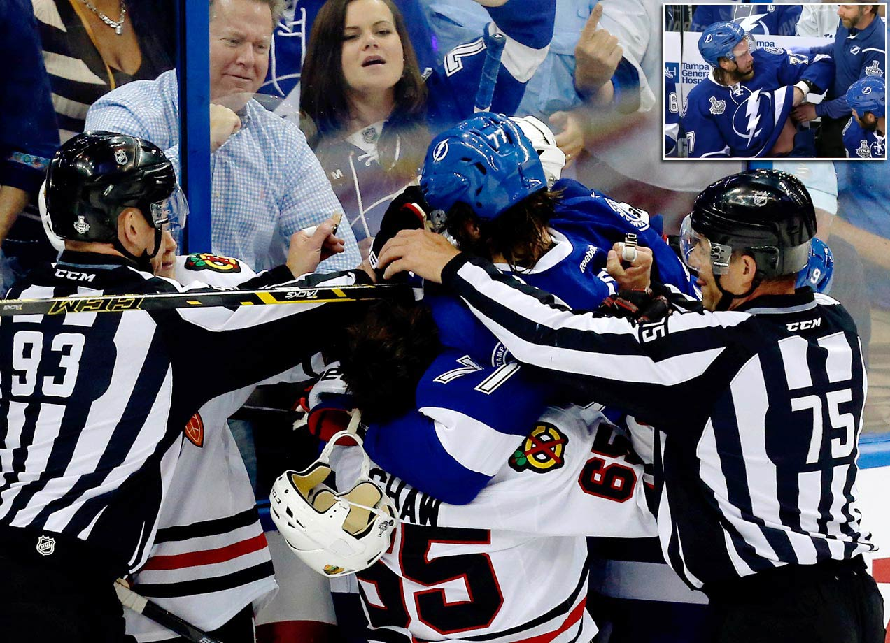 Lightning defenseman Victor Hedman believes Chicago's Andrew Shaw bit him on the torso during a scrum after the whistle in the second period of Game 1 of the 2015 Stanley Cup Final. Hedman lifted his jersey on the bench to show the bruise.