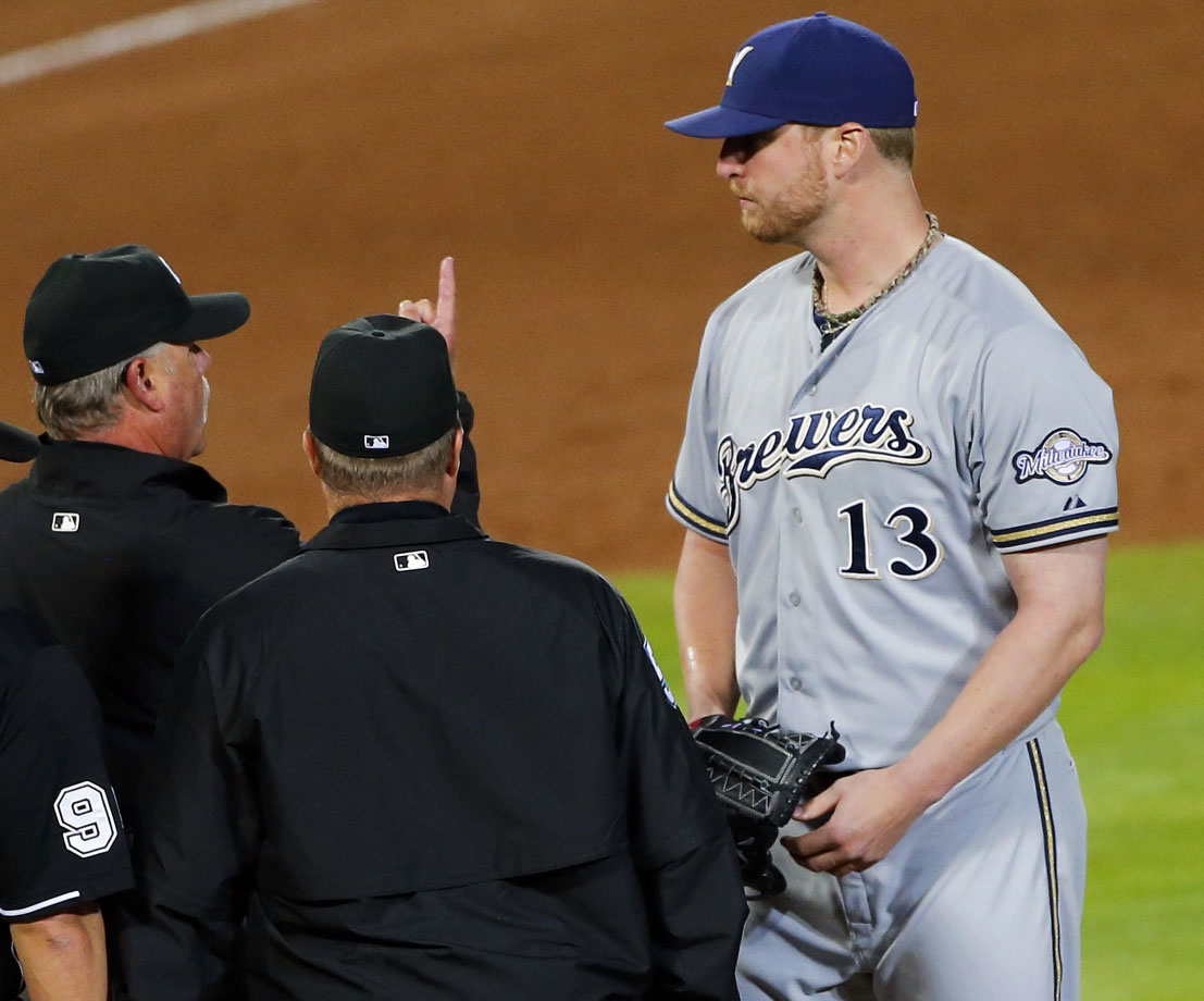 Milwaukee Brewers pitcher Will Smith was ejected from a 10–1 loss to the Atlanta Braves after umpires found a foreign substance on his arm. Smith entered the game in the bottom of the seventh inning with Atlanta leading 2–1. After four pitches, Braves manager Fredi Gonzalez asked umpires to check on the left-handed pitcher. Crew chief Jim Joyce ejected Smith after the umpires found rosin and sunscreen on his right forearm. Smith received an eight-game suspension, which he elected to appeal.