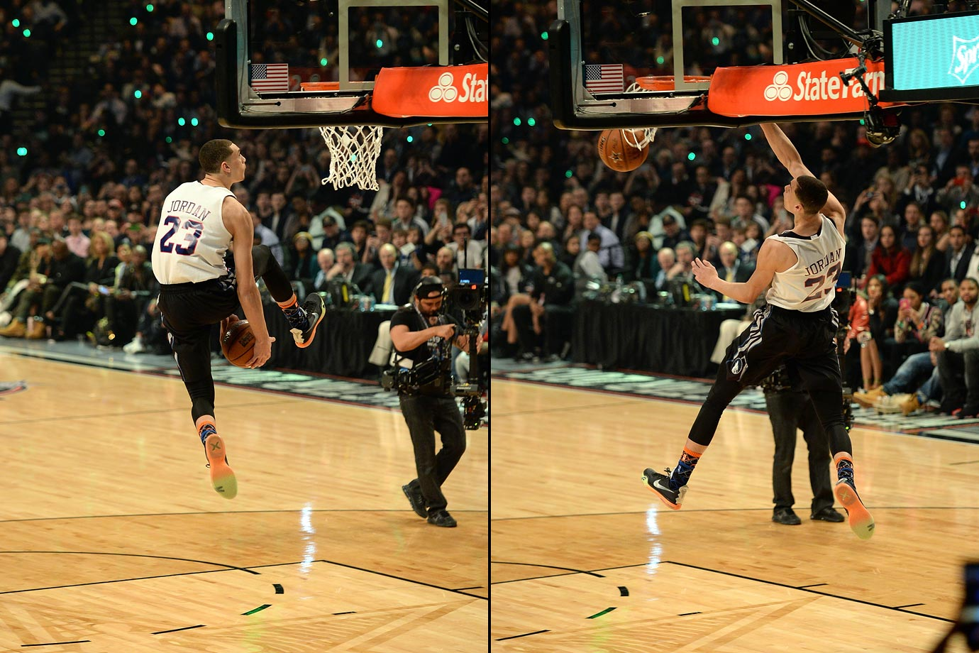 "LaVine earned a perfect score (50) with his first dunk of the night, an homage to ""Space Jam"" between-the-legs reverse effort, and brought the crowd to its feet with three other acrobatic dunks. The Timberwolves guard became the second-youngest player to win the contest."