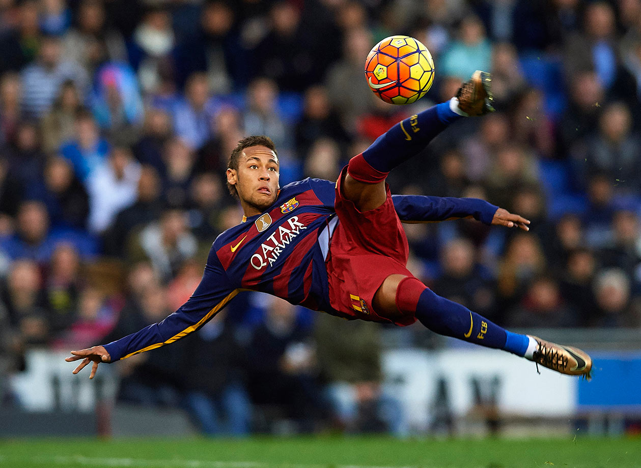 Neymar plays the ball during Barcelona's La Liga match against Espanyol on Jan. 2, 2016 at Cornella-El Prat Stadium in Barcelona, Spain.