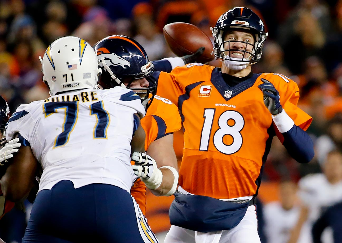 The regular season finale against the Chargers was fueled by the ground game, but headlined by a quarterback controversy. In the third quarter, with the Broncos losing, Osweiler was benched in favor of Manning, who led Denver to 20 points and the 27-20 victory over San Diego. Though he only went 5 for 9 with 69 yards, Manning provided a spark and the running game did the rest. With a 12-4 record, the Broncos went into the playoffs with the first seed and a first-round bye.