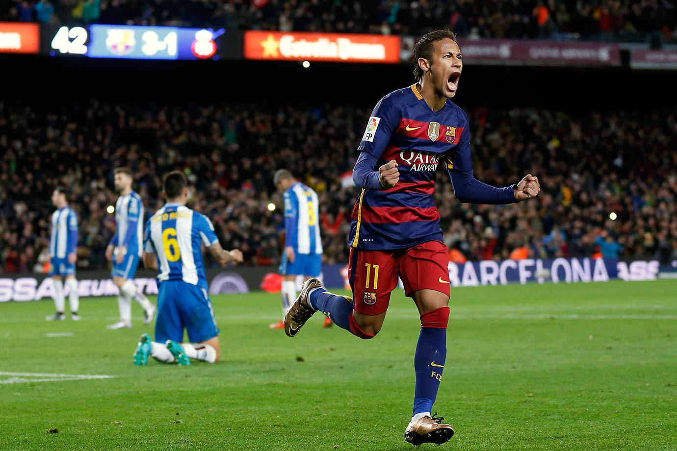 Neymar celebrates scoring a goal during Barcelona's Copa del Rey match against Espanyol on Jan. 6, 2016 at Camp Nou in Barcelona, Spain.