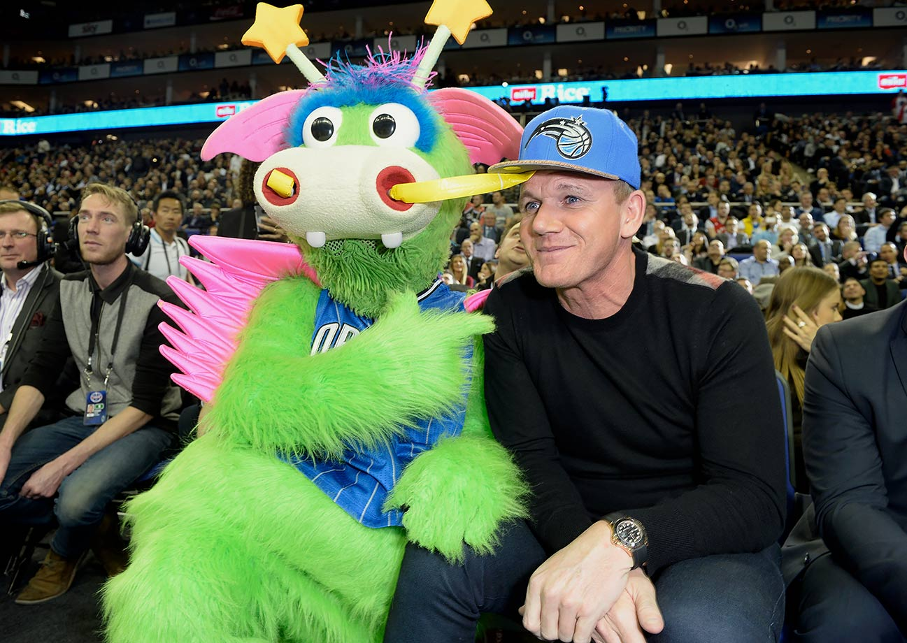 Gordon Ramsay found a friend in Stuff the Magic Dragon during the Orlando Magic game against the Toronto Raptors in London.