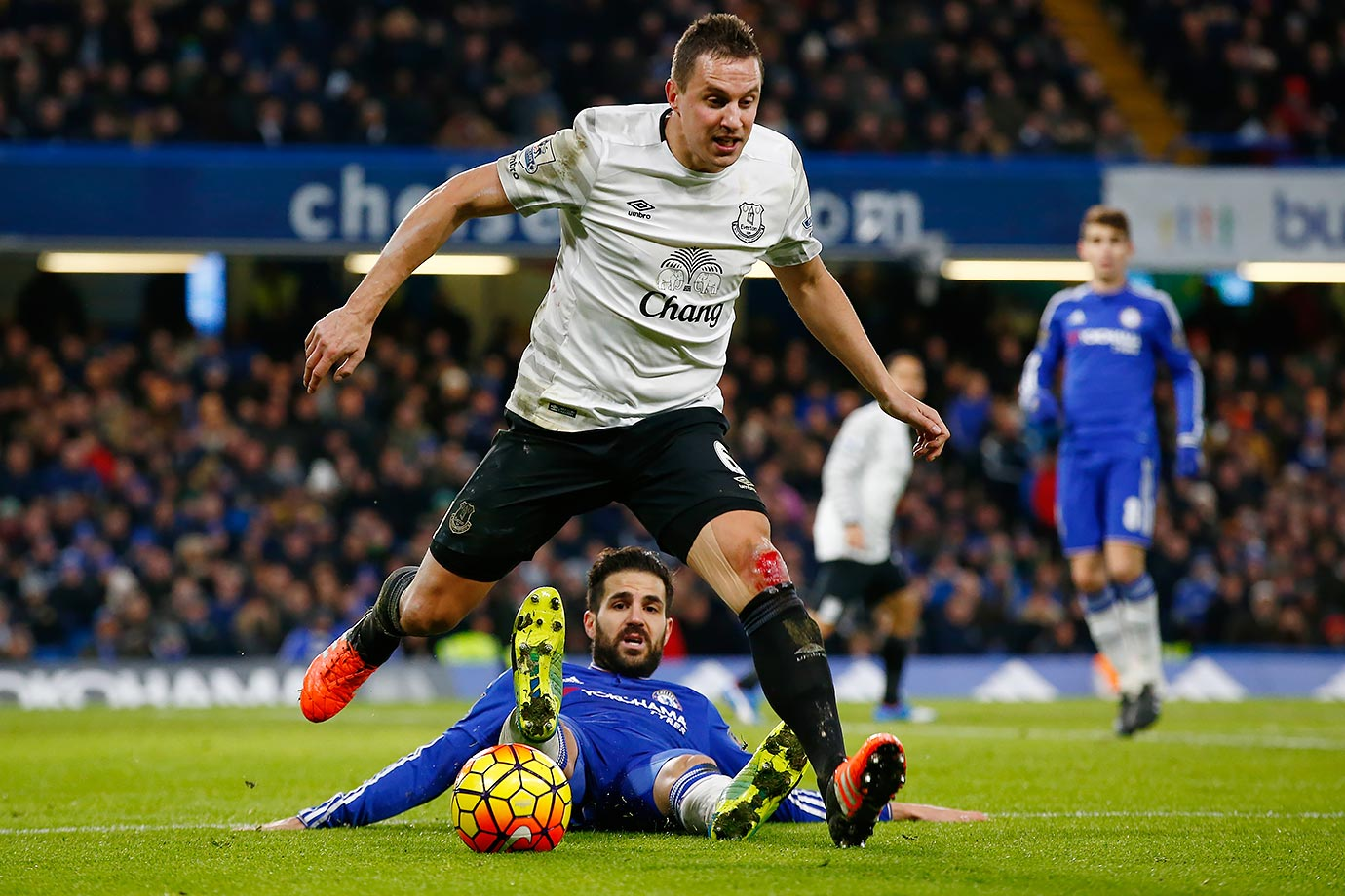 Chelsea's Sesc Fabregas appears to give a pretty lackadaisical effort against Everton's Phil Jagielka.