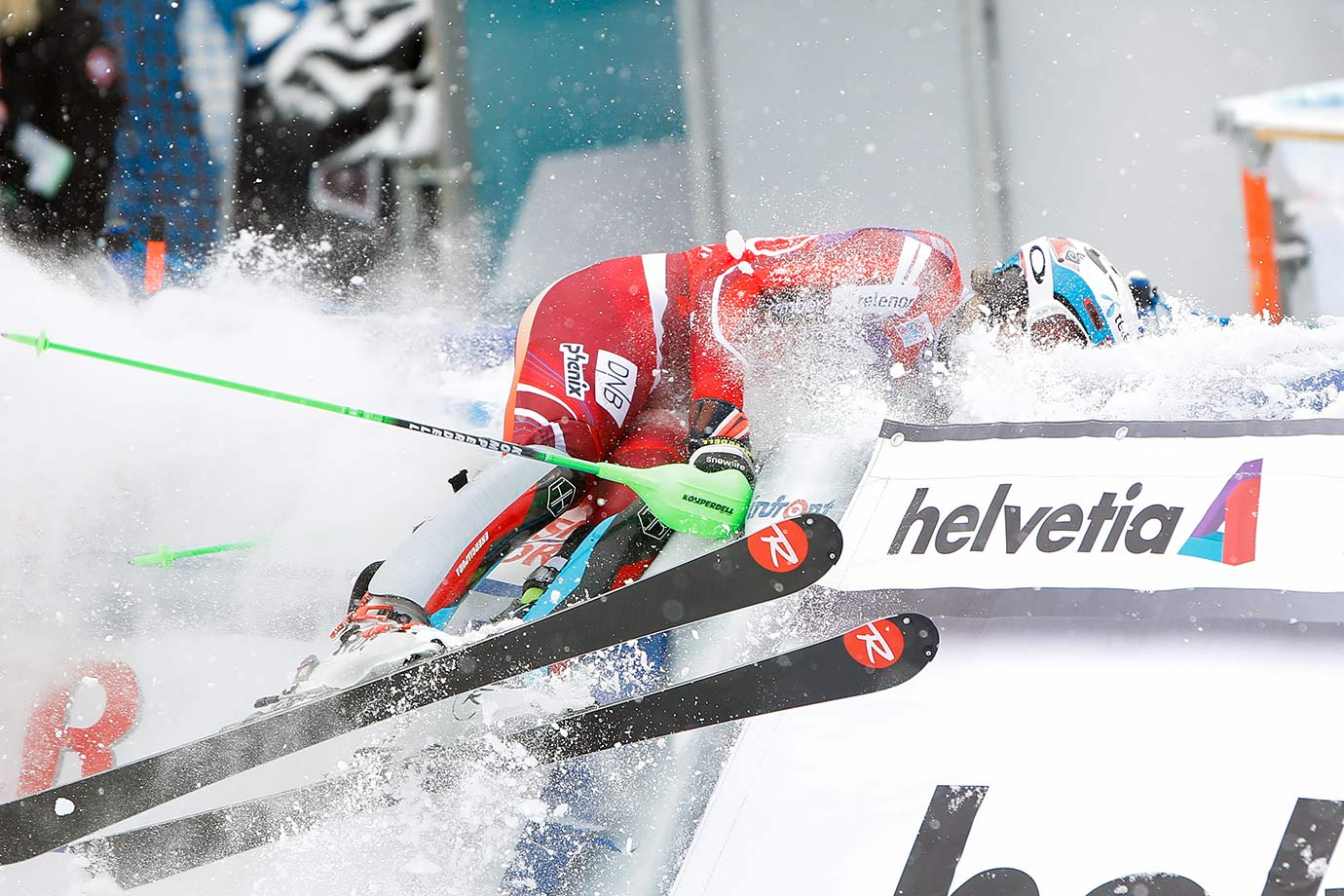 Norway's Henrik Kristoffersen celebrates in odd fashion during the Audi FIS Alpine Ski World Cup Men's Slalom in Switzerland.