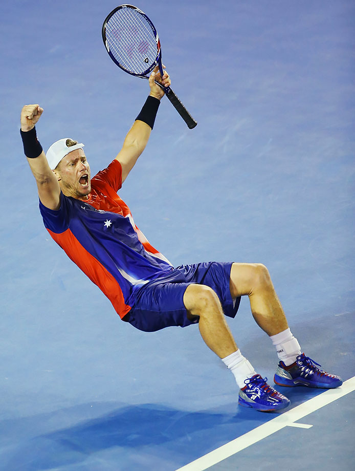 Lleyton Hewitt celebrates winning his match against James Duckworth dat the Australian Open.
