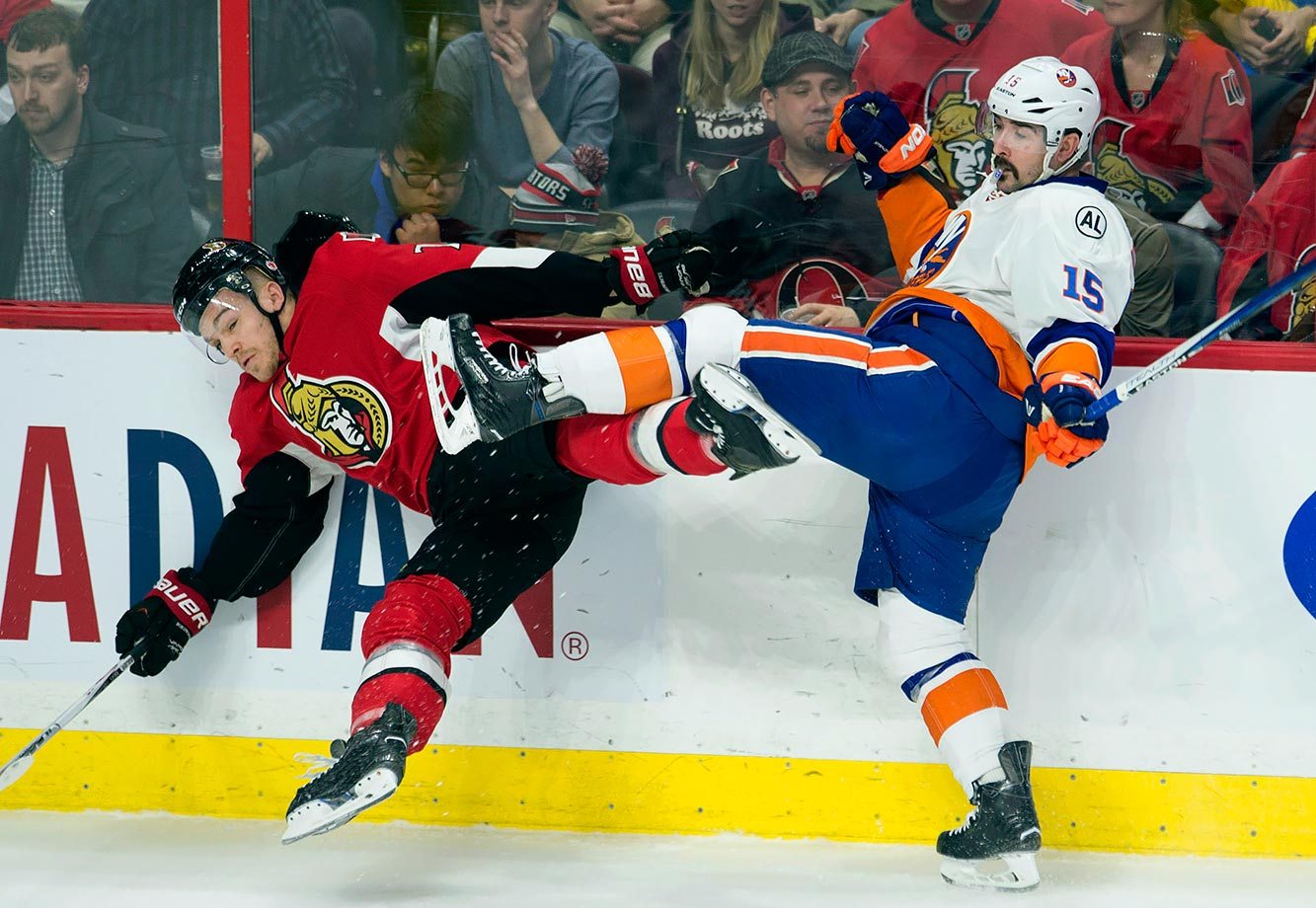 Ottawa Senators defenseman Mark Borowiecki and New York Islanders right wing Cal Clutterbuck should probably avoid kicking with blades on their feet during a game in Ottawa.