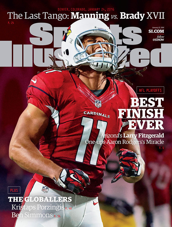 The Cardinals earned a chance to play for their second NFC title by overcoming the Green Bay Packers, Aaron Rodgers and a Hail Mary pass in the divisional playoff game last Saturday. In the cover story, SI's Austin Murphy chronicles player reactions to Fitzgerald's 75-yard catch and run on the first possession of overtime that culminated in a touchdown and brought the Cardinals one step closer to appearing in Super Bowl 50.