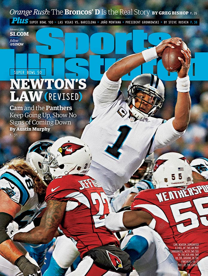 MVP candidate Cam Newton threw for 335 yards with two touchdowns in the Panthers' 49–15 rout of the Arizona Cardinals in the NFC Championship Game on Sunday. The dominant performance earned Carolina a ticket to face the top–ranked Denver defense in the Super Bowl, the Panthers' first chance at an NFL title since losing the Super Bowl to the Patriots in 2003. In this cover story, SI's Austin Murphy discusses how Newton inspired a team of misfits to become the odds-on Super Bowl favorites.