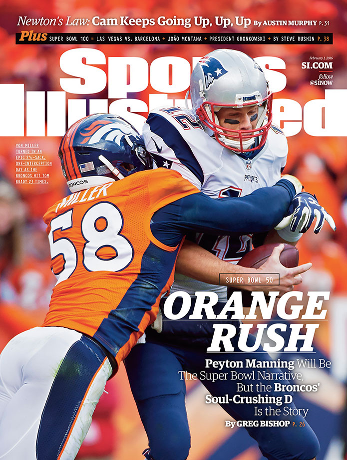 In the AFC Championship Game against the New England Patriots, the No. 1 Broncos defense limited Tom Brady to one touchdown with two interceptions and four sacks as Denver clinched its Super Bowl berth with a 20–18 victory. As the Broncos advance to face the Panthers' red-hot offense, SI's Greg Bishop writes how Denver's defense propelled Peyton Manning to his chance at a second championship ring.