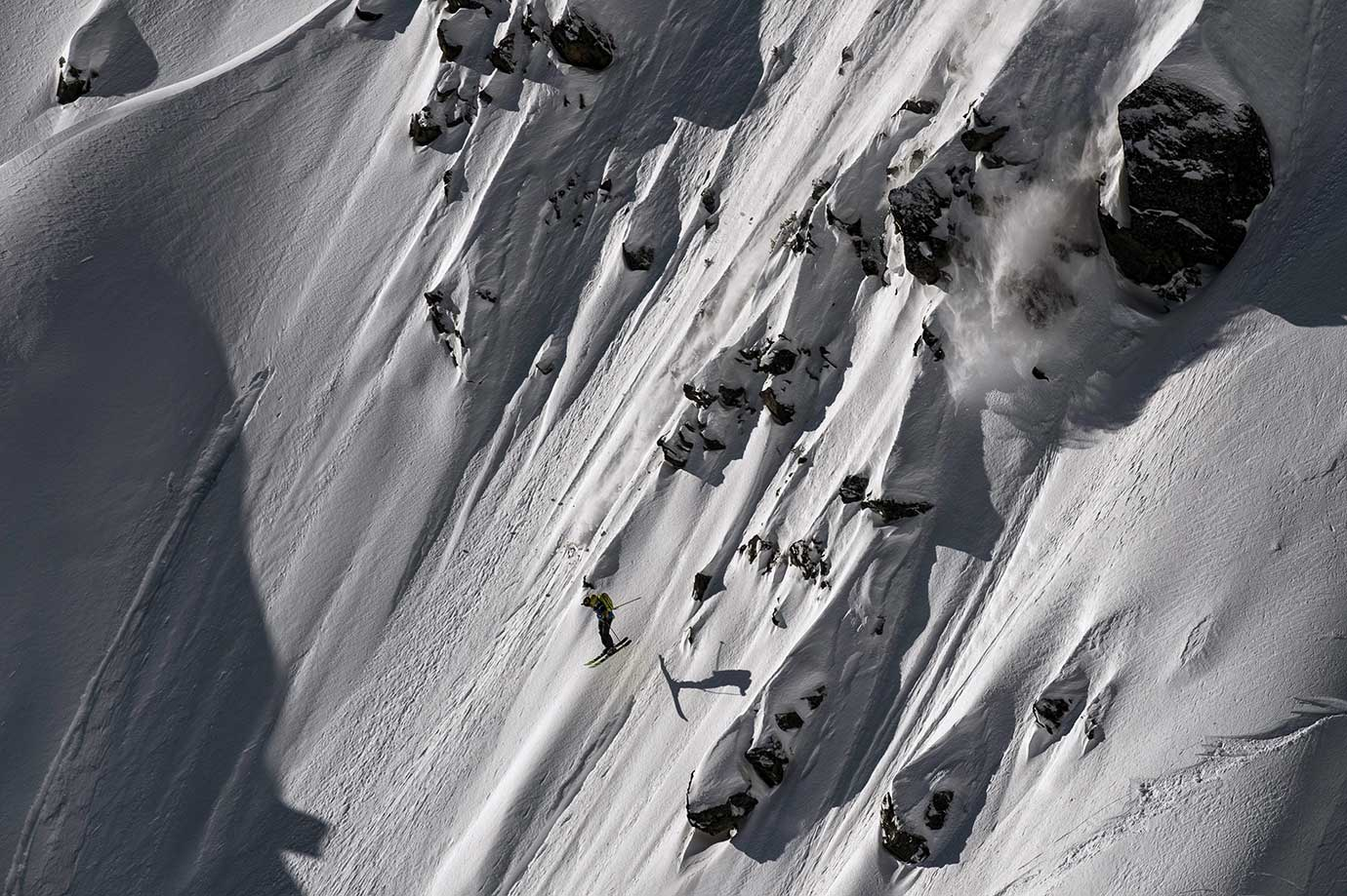 Martin Lentz skis down the wild face of Aiguille Pourrie during a stage of the Swatch Freeride World Touin Chamonix, France.