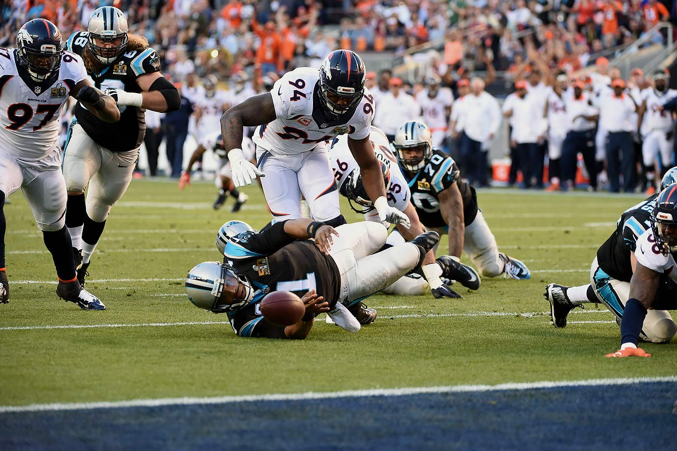 Cam Newton was stripped of the ball twice, this one leading to a touchdown by Malik Jackson early in the game.