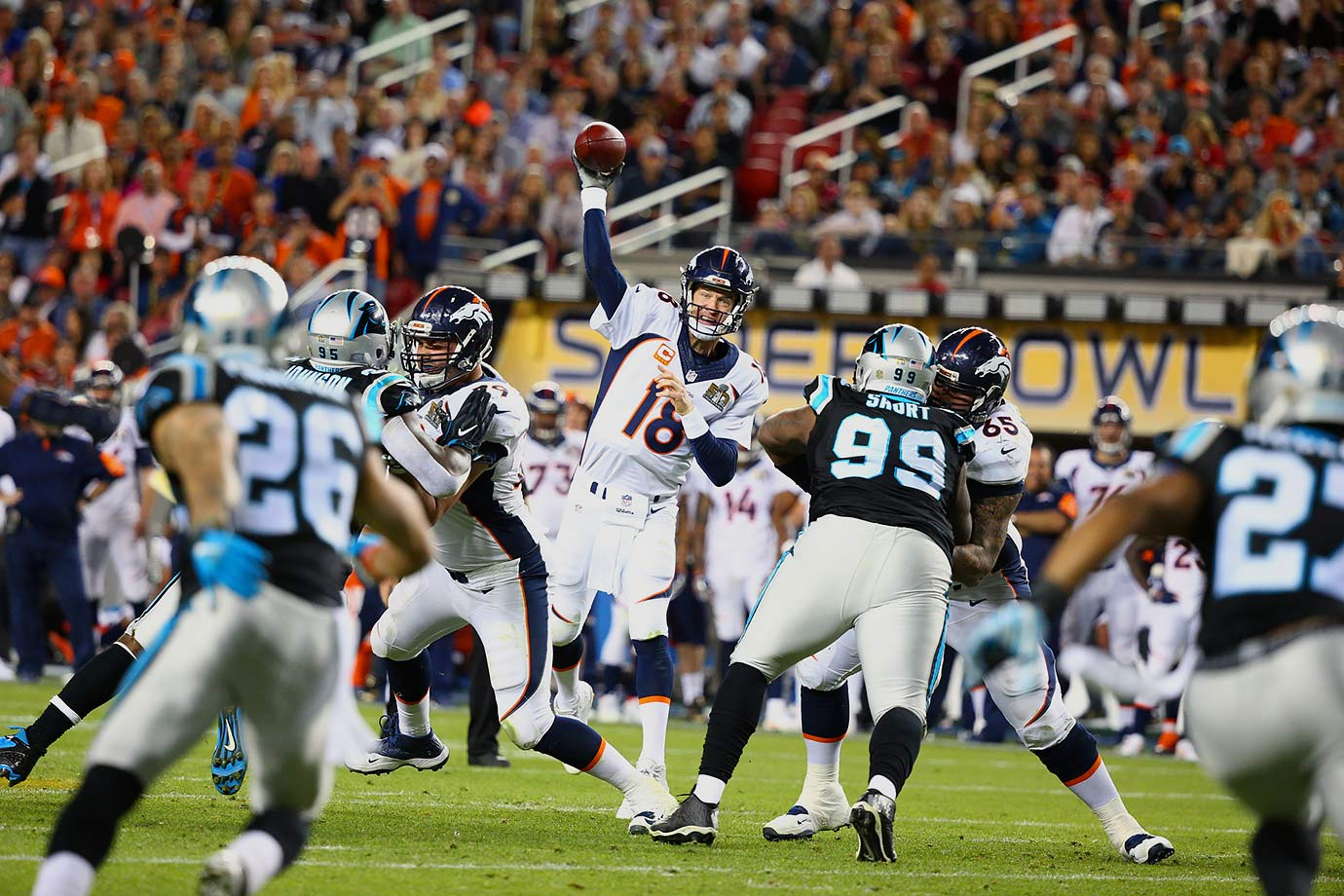 Peyton Manning completed just 13-of-23 passes for 141 yards with an interception.