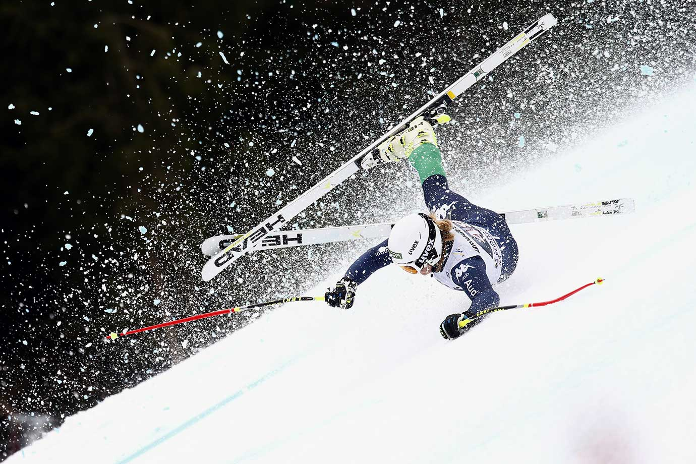 Verena Gasslitter of Italy crashes during the Audi FIS Alpine Ski World Cup Women's Super G in Garmisch-Partenkirchen, Germany.