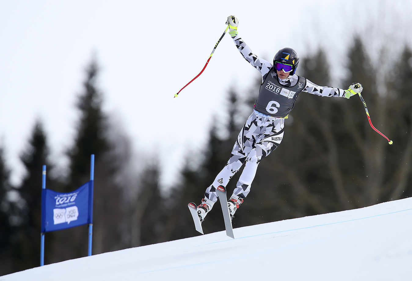 Nadine Fest (AUT) on her way to winning the Alpine Skiing Ladies' Super-G at the Hafjell Olympic Slope on Feb. 13, 2016 during the Winter Youth Olympic Games in Lillehammer, Norway.