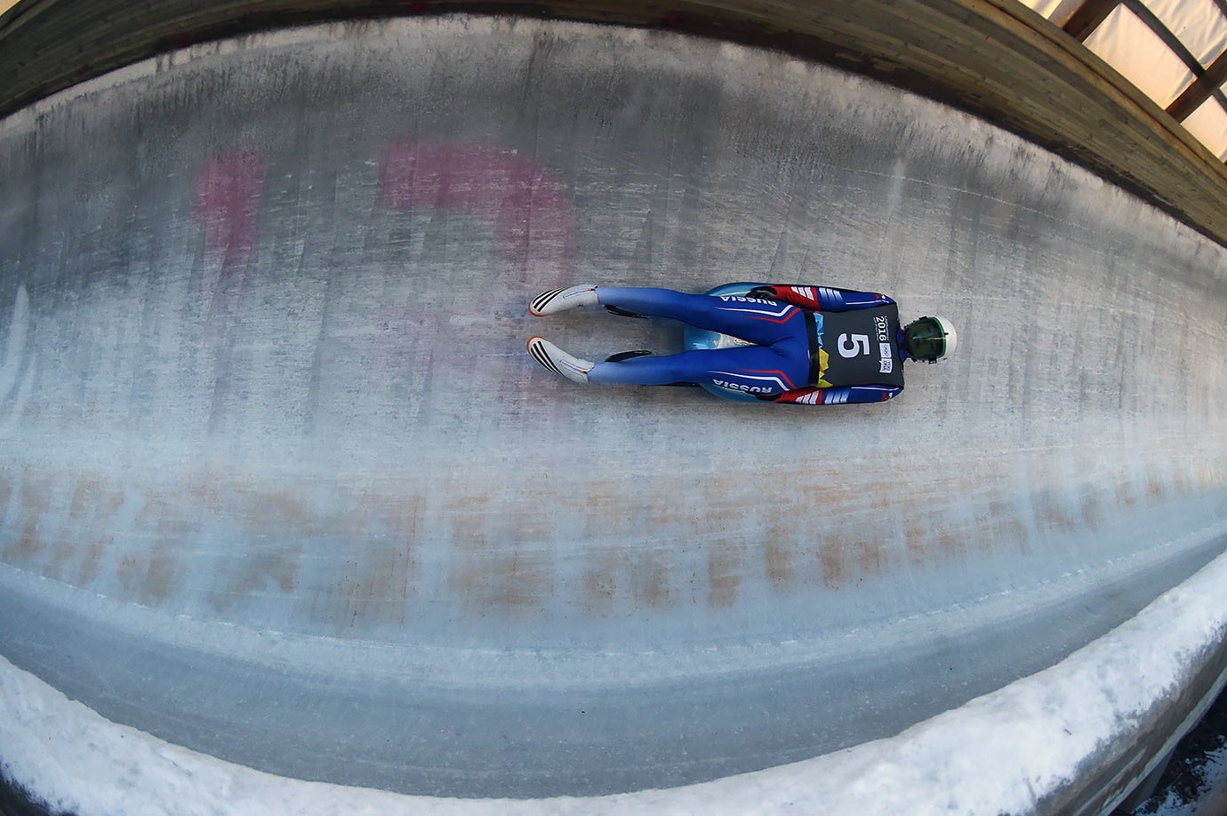 Evgenii Petrov (RUS) competes in the Men's Luge Singles at the Lillehammer Olympic Sliding Center on Feb. 14, 2016 during the Winter Youth Olympic Games in Lillehammer, Norway.