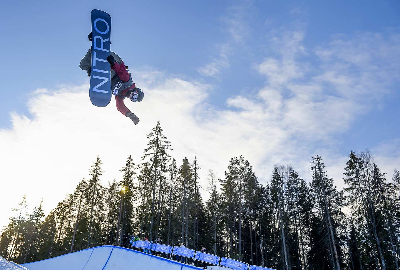Gian Andrea Sutter (SUI) competes in the Men's Snowboard Halfpipe Finals at Oslo Vinterpark Halfpipe on Feb. 14, 2016 during the Winter Youth Olympic Games in Lillehammer, Norway.