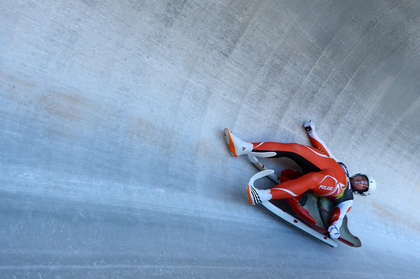 Kacper Tarnawski (POL) falls in the Men's Luge Singles at the Lillehammer Olympic Sliding Center on Feb. 14, 2016 during the Winter Youth Olympic Games in Lillehammer, Norway.