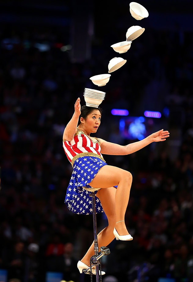 Red Panda performs in the first half during the 2016 NBA All-Star Game in Toronto.
