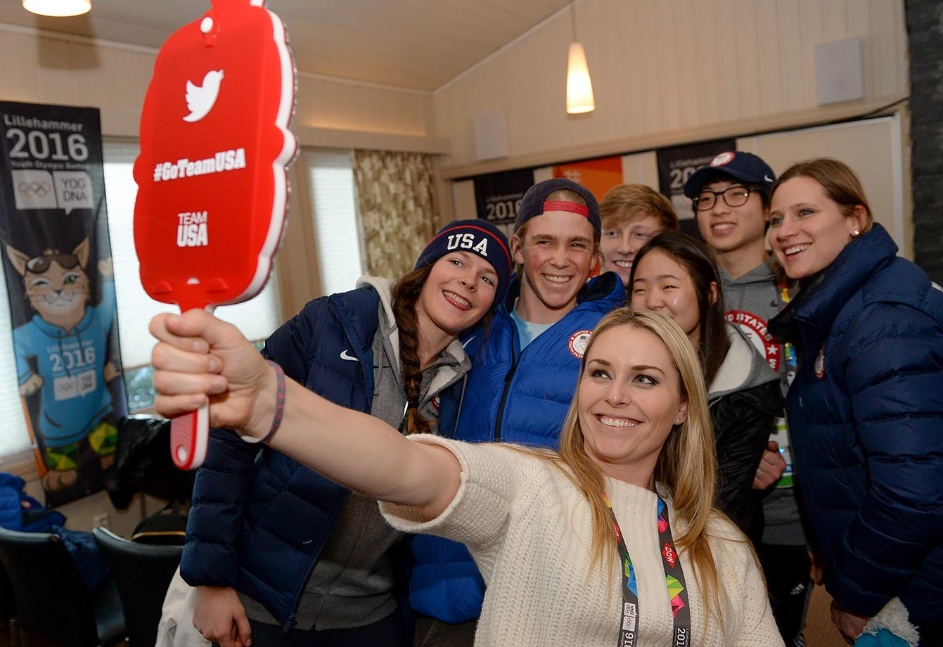 Olympic Champion in Alpine Skiing Lindsey Vonn (USA) poses for a selfie with Keely Cashman (USA), River Radamus (USA), Austin Kleba (USA), April Shin (USA), Aaron Heo (USA) and Chair of the Coordination Commission Angela Ruggiero at the Youth Olympic Village on Feb. 15, 2016 during the Winter Youth Olympic Games in Lillehammer, Norway.