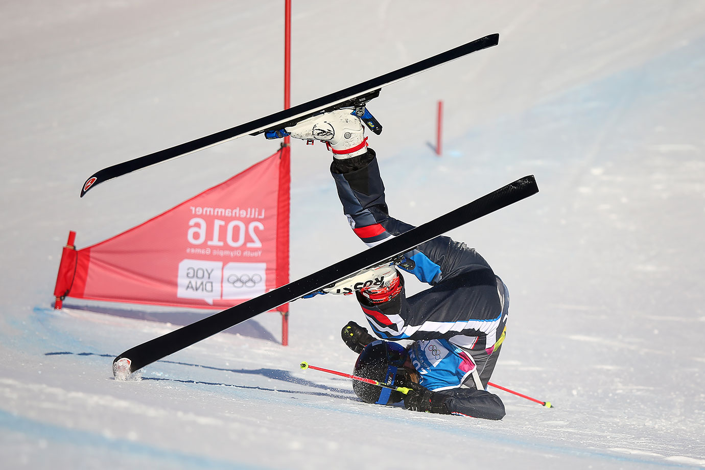 Margot Tresal Mauroz (FRA) crashes in the Ladies Ski Cross at the Hafjell Freepark on Feb. 15, 2016 during the Winter Youth Olympic Games in Lillehammer, Norway.