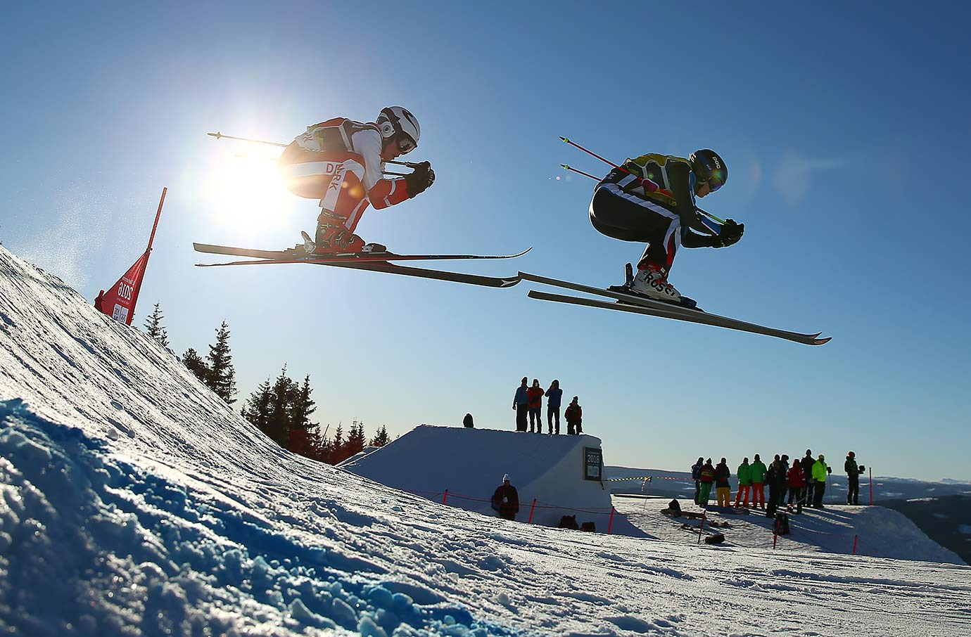 Nicoline Nielsen (DEN) and Margot Tresal Mauroz (FRA) compete in the Ladies Ski Cross at the Hafjell Freepark heats on Feb. 15, 2016 during the Winter Youth Olympic Games in Lillehammer, Norway.