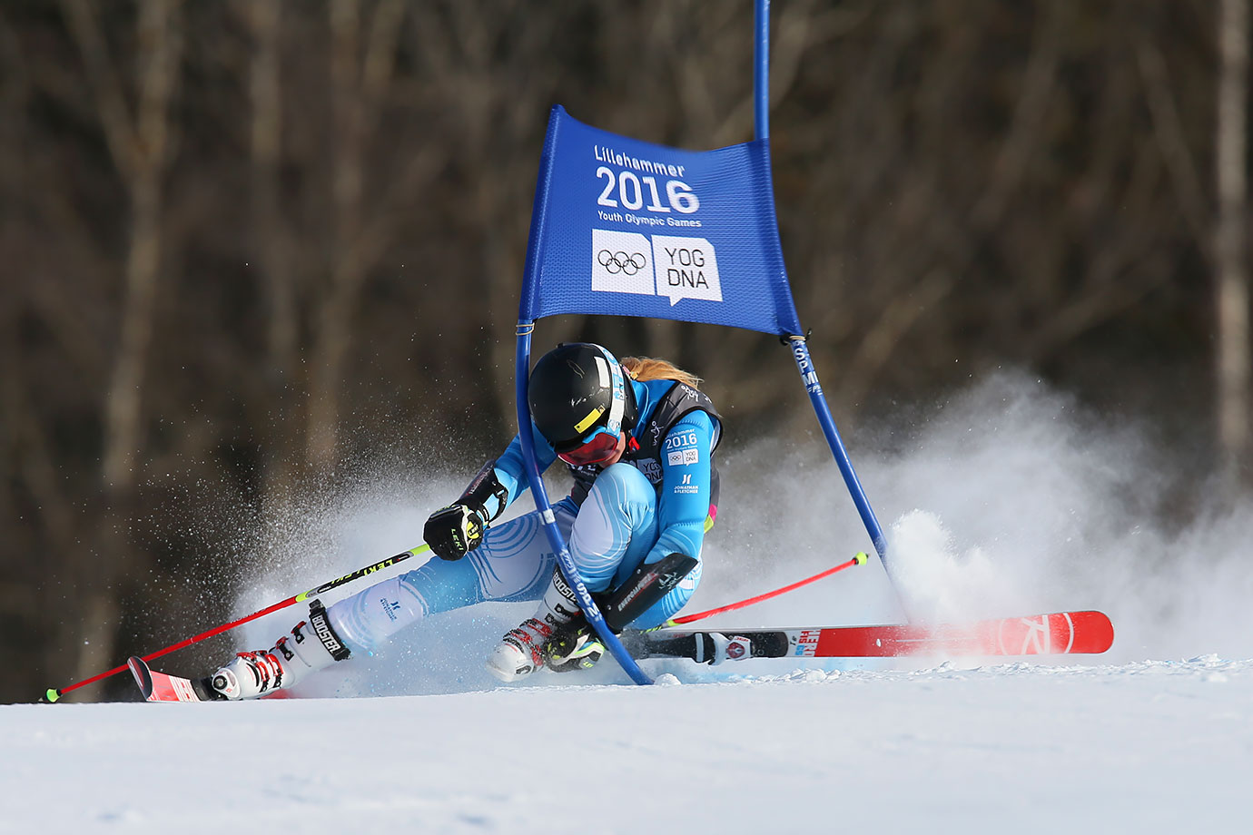 Francesca Baruzzi Farriol (ARG) loses her ski and crashes in the Alpine Skiing Ladies Giant Slalom at the Hafjell Olympic Slope on Feb. 16, 2016 during the Winter Youth Olympic Games in Lillehammer, Norway.