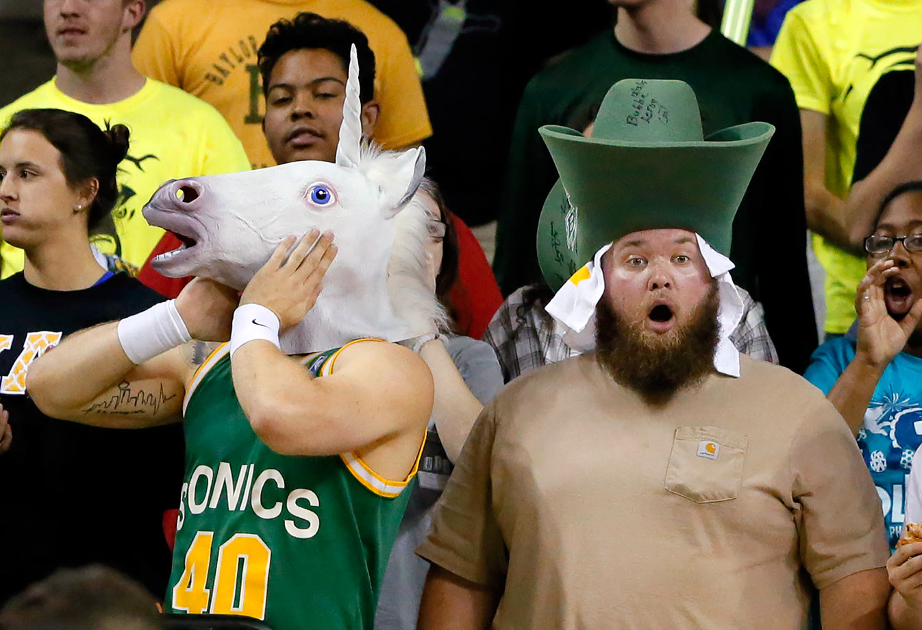 Baylor fans react to a foul called against their team during the second half against Iowa State in Waco, Texas.
