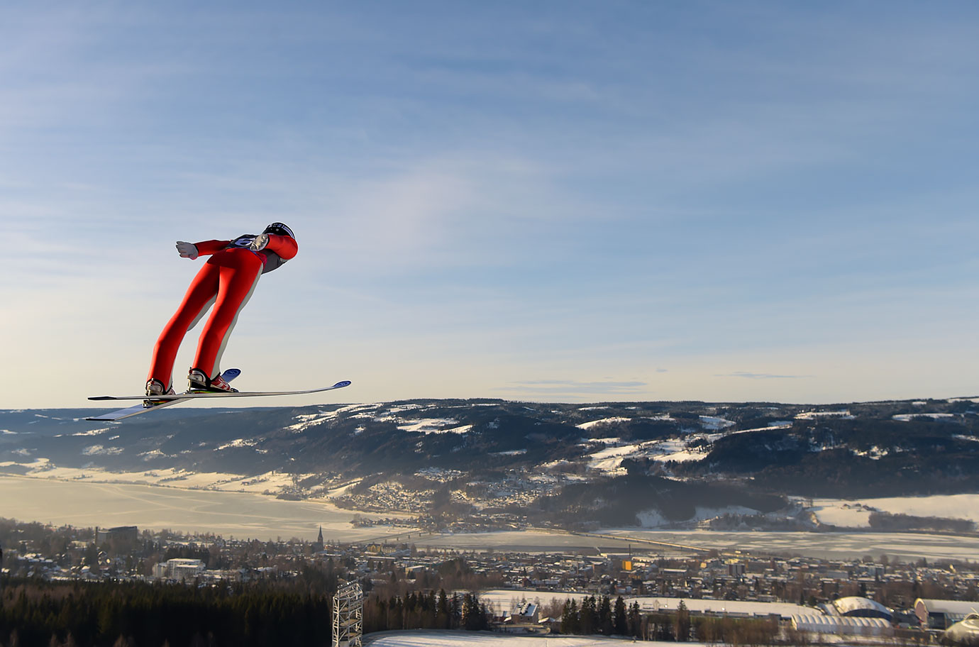 Einar Luraas Oftebro (NOR) flies over Lillehammer in the Nordic Combined Men's Individual Gundersen NH/5km Ski Jumping competition at Lysgardsbakkene Ski Jumping Arena on Feb. 16, 2016 during the Winter Youth Olympic Games in Lillehammer, Norway.