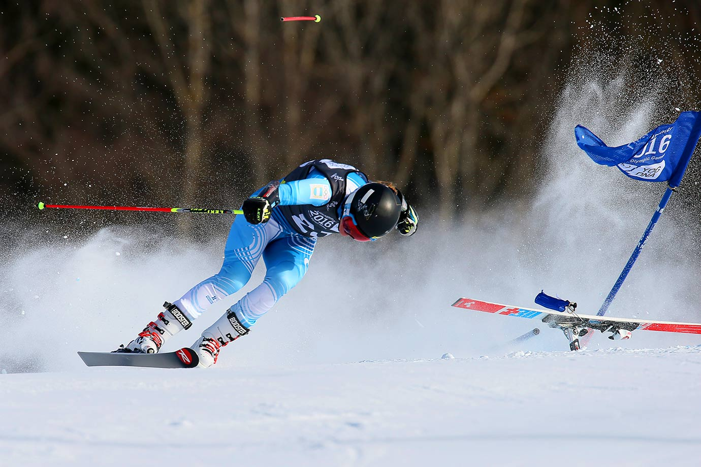 Francesca Baruzzi Farriol of Argentina loses her ski and crashes during the Alpine Skiing Ladies Giant Slalom at the Hafjell Olympic Slope on day five of the Winter Youth Olympic Games in Lillehammer, Norway.