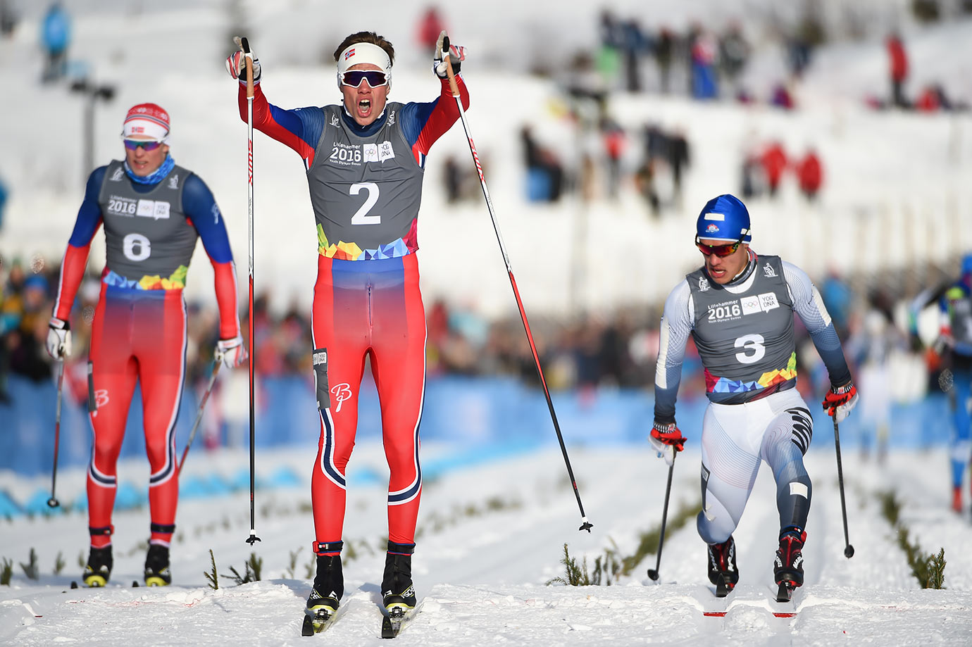 Thomas Helland Larsen (NOR) crosses the finish line to win the Gold Medal in the Cross-Country Skiing Men's Sprint Classic at Birkebeineren Cross-Country Stadium on Feb. 16, 2016 during the Winter Youth Olympic Games in Lillehammer, Norway.
