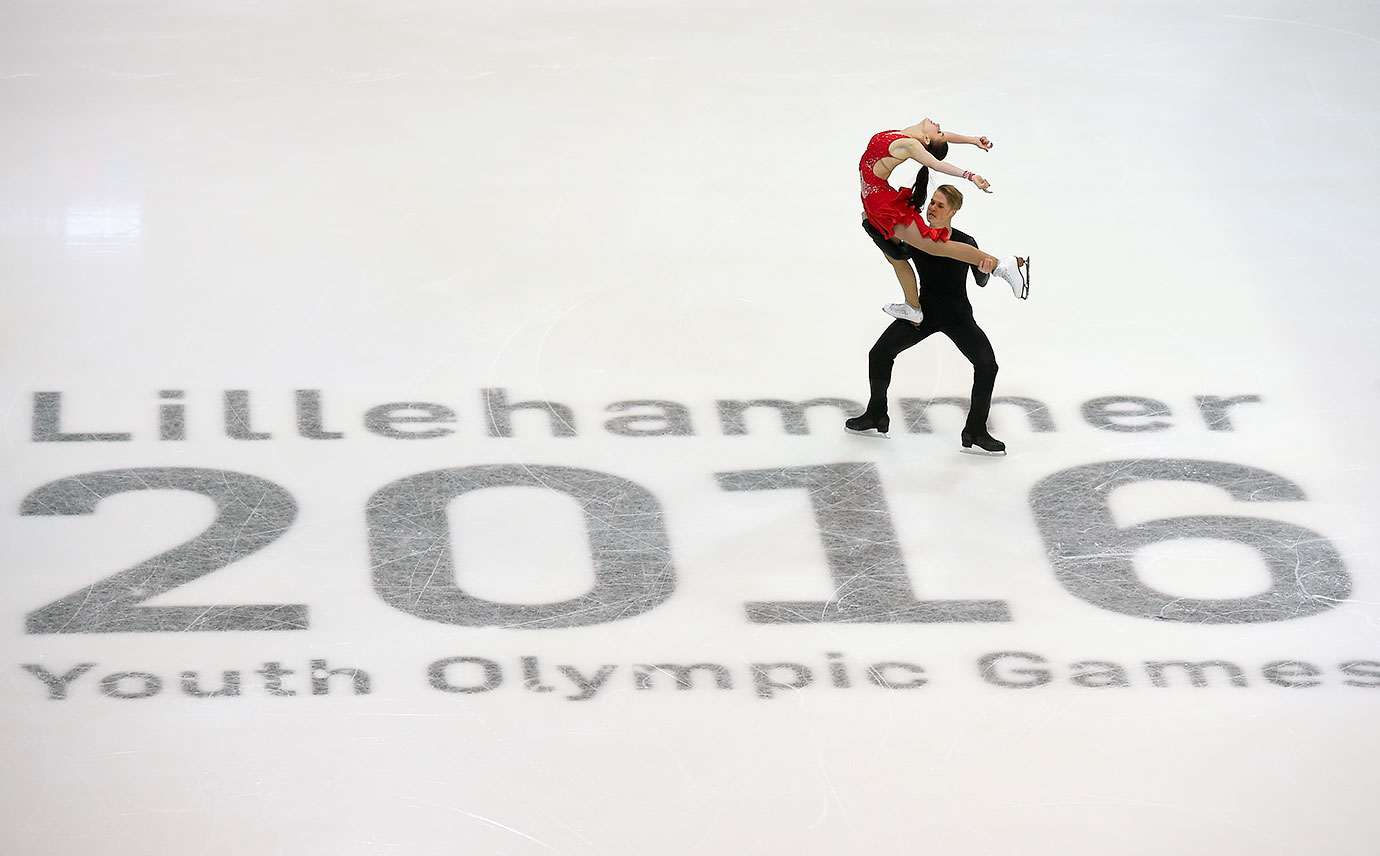 Viktoria Semenjuk and Artur Gruzdev (EST) perform their Free Dance in the Figure Skating Ice Dance competition at Hamar Olympic Amphitheatre on Feb. 16, 2016 during the Winter Youth Olympic Games in Lillehammer, Norway.