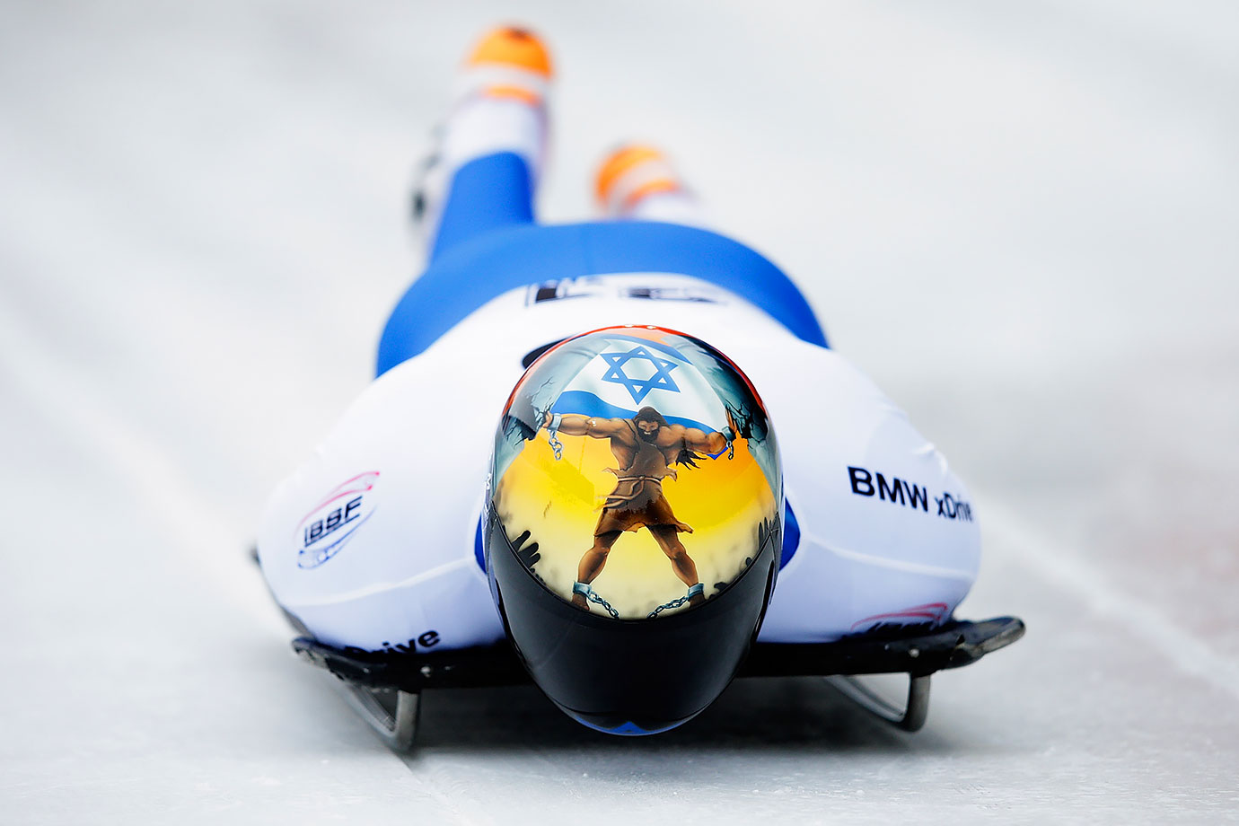 Israel's Adam Edelman completes his second run of the Men's Skeleton during Day 4 of the IBSF World Championships in Innsbruck, Austria.