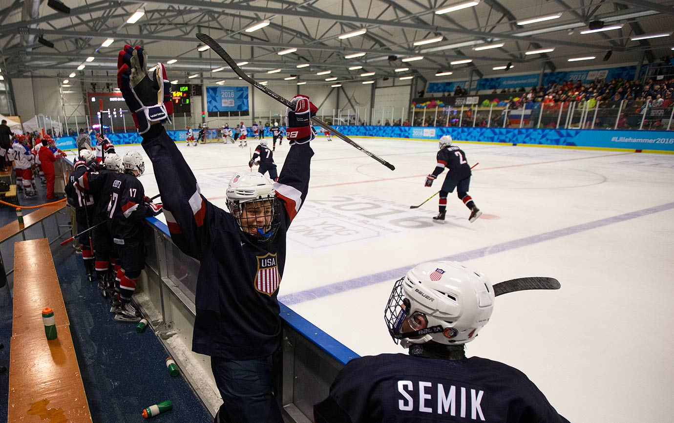 Adam Samuelsson (USA) celebrates his team's fourth goal in the Men's Ice Hockey Preliminary Round Game between the USA and Russia at the Youth Hall on Feb. 18, 2016 during the Winter Youth Olympic Games in Lillehammer, Norway.