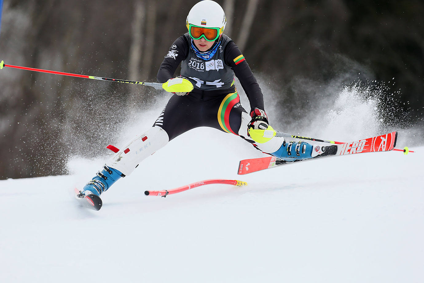 Egle Augustaityte (LTU) competes in the Alpine Skiing Ladies' Slalom at the Hafjell Olympic Slope on Feb. 18, 2016 during the Winter Youth Olympic Games in Lillehammer, Norway.