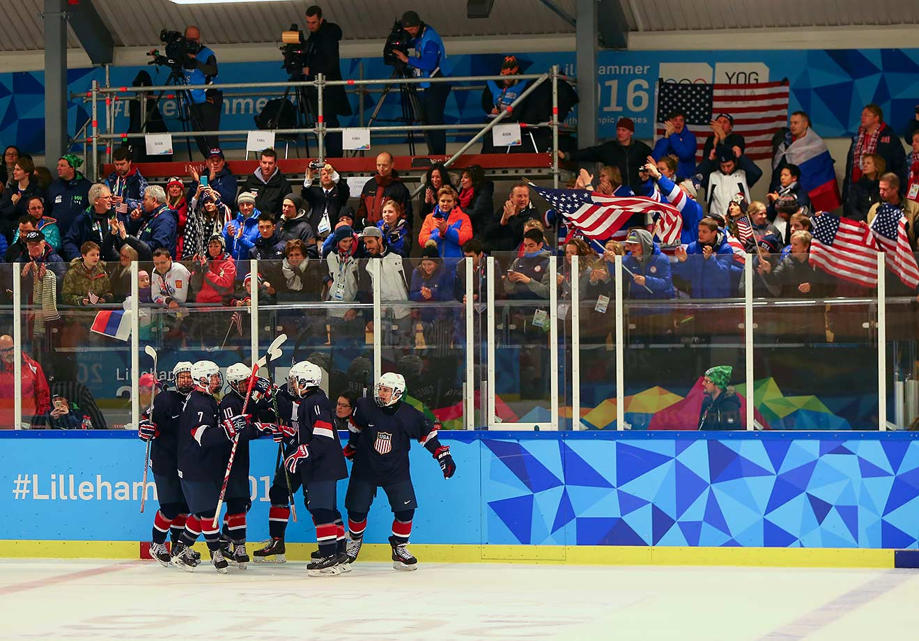 Team USA celebrates their fourth goal in the Men's Ice Hockey Preliminary Round Game against Russia at the Youth Hall on Feb. 18, 2016 during the Winter Youth Olympic Games in Lillehammer, Norway.