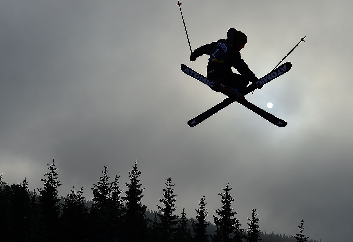 Jackson Wells (NZL) soars during the training run of the Freestyle Skiing Ski Slopestyle Finals at Hafjell Freepark on Feb. 19, 2016 during the Winter Youth Olympic Games in Lillehammer, Norway.