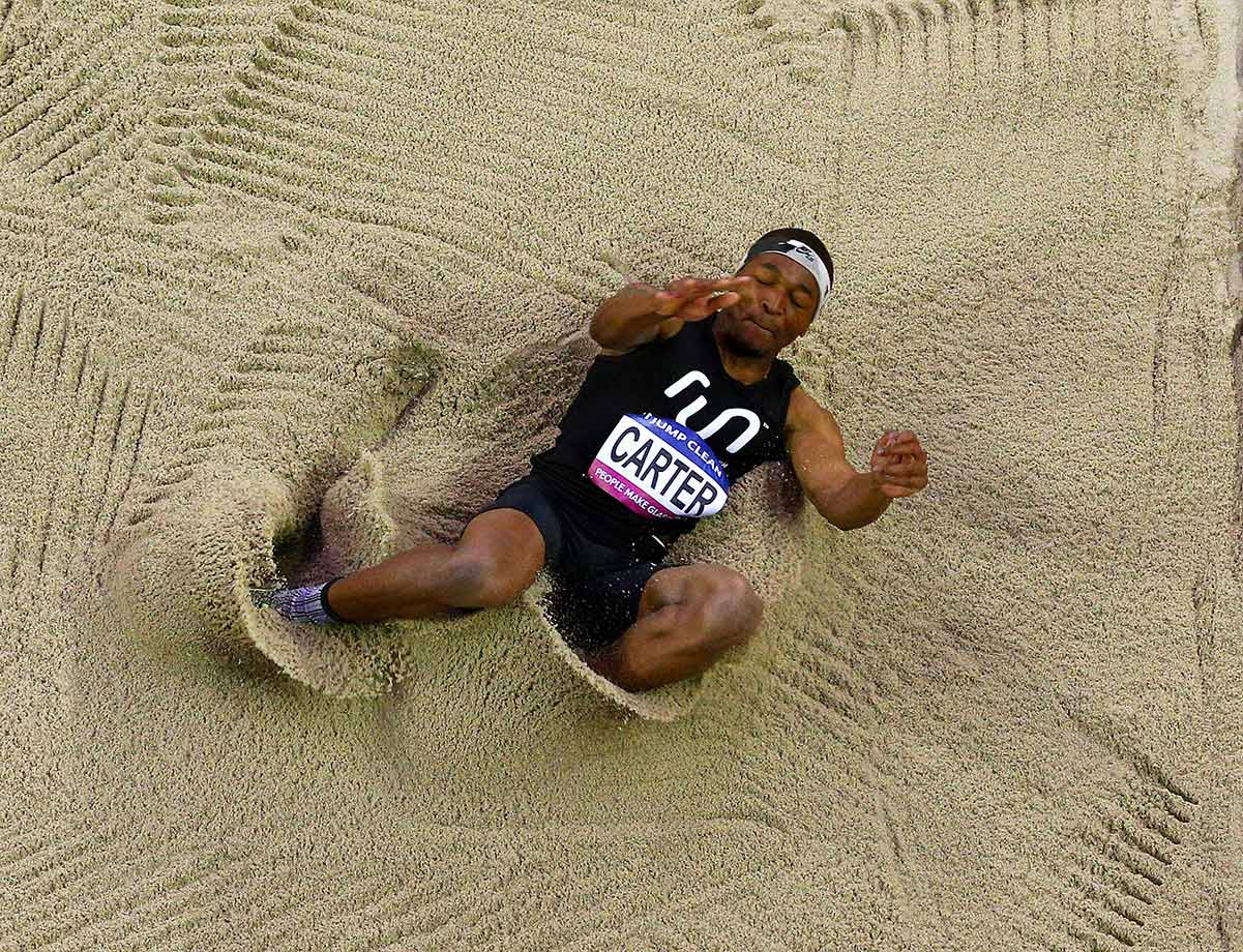USA's Chris Carter competes in the Mens Triple Jump during the Glasgow Indoor Grand Prix in Glasgow, Scotland.