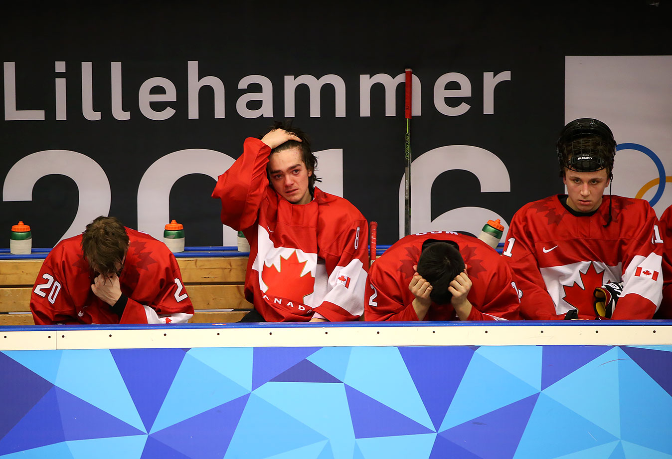Team Canada reacts on their bench after losing 5-2 to Team USA in the Ice Hockey men's final at the Kristins Hall on Feb. 21, 2016 during the Winter Youth Olympic Games in Lillehammer, Norway.