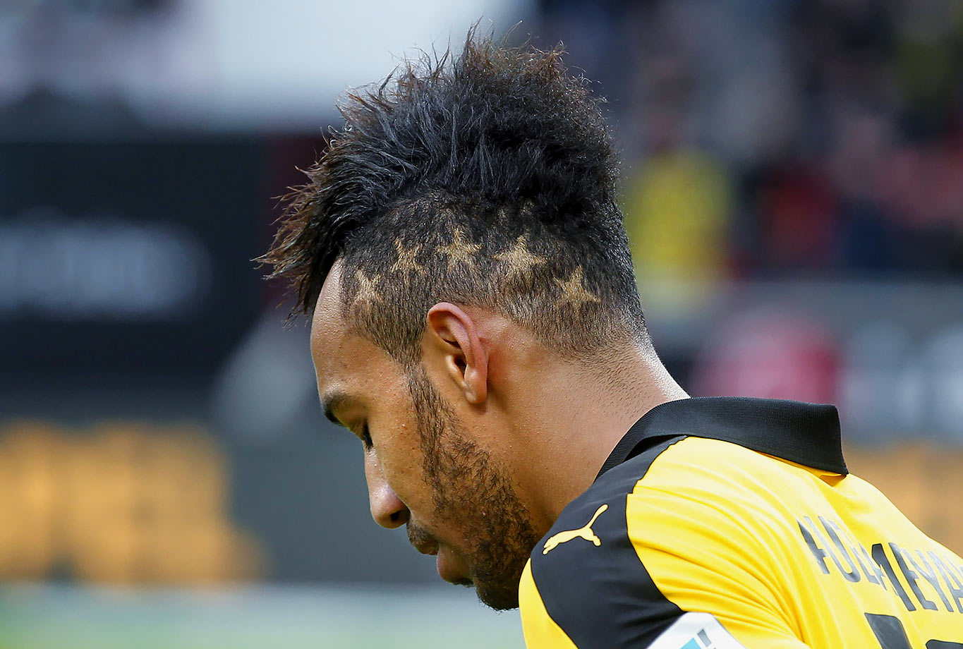 Borussia Dortmund's Pierre-Emerick Aubameyang sports an interesting hairdo during the Bundesliga match against Bayer Leverkusen in Leverkusen, Germany.
