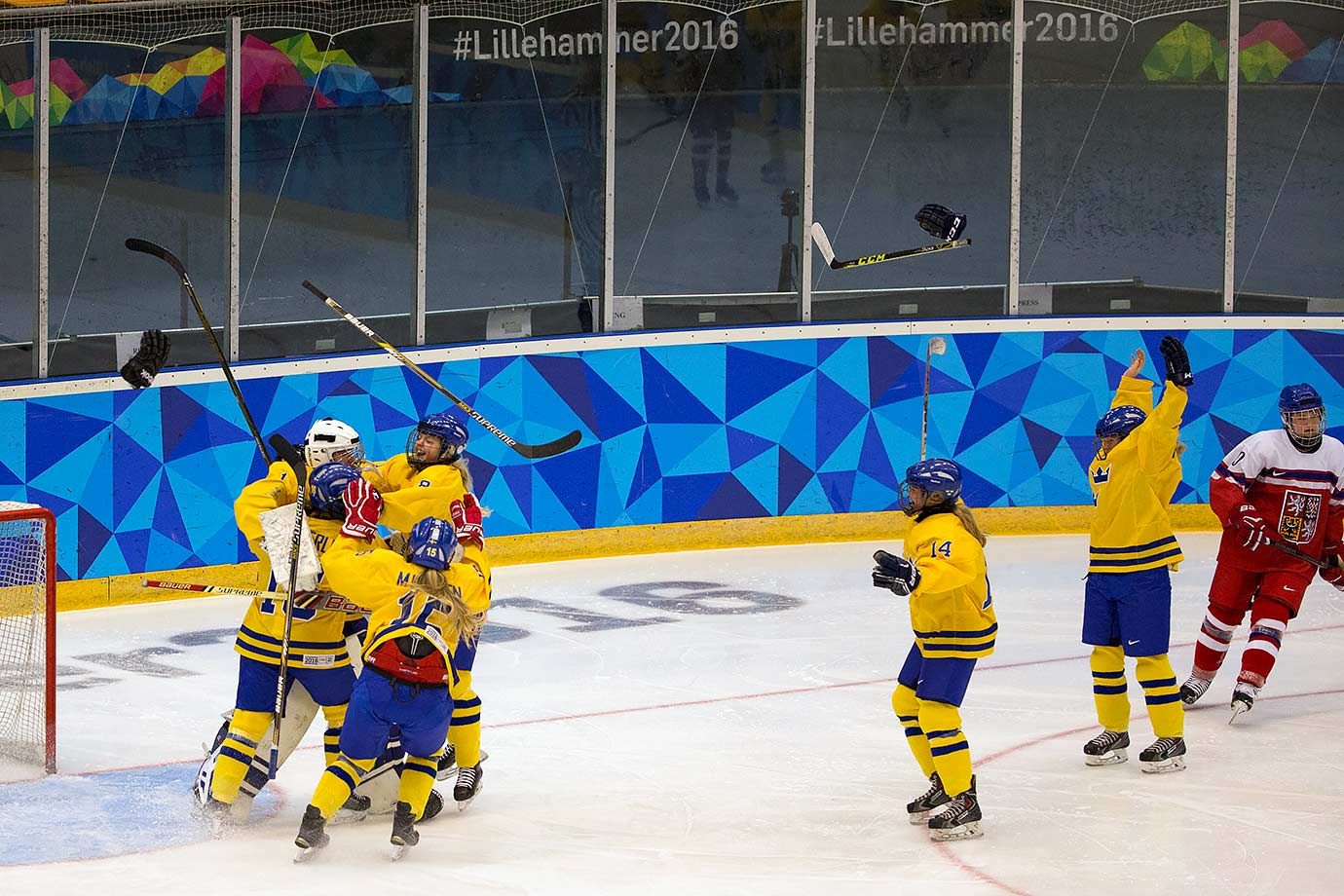 Team Sweden celebrates their victory 3-1 over the Czech Republic in the Ice Hockey Ladies' final at the Kristins Hall on Feb. 21, 2016 during the Winter Youth Olympic Games in Lillehammer, Norway.