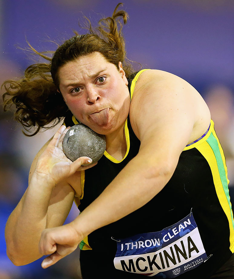 Sophie McKinna in action during the Women's Shot Put Final during day one of the Indoor British Championships in Sheffield, England.