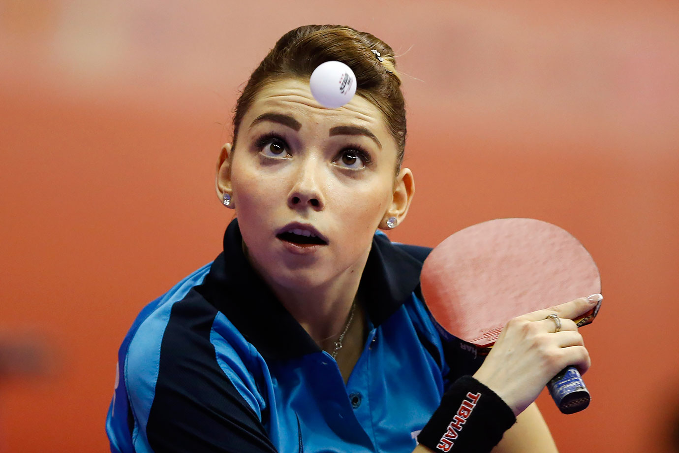 Romania's Bernadette Szocs returns a ball against China's LI Xiaoxia during the women's team table tennis championship in Kuala Lumpur, Malaysia.