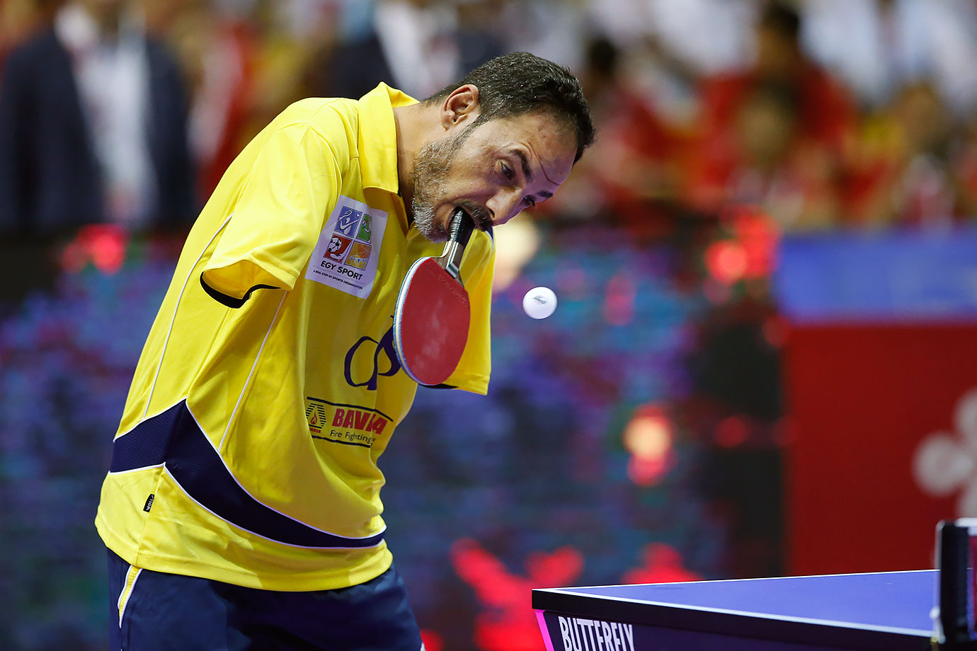 Egyptian Para Table Tennis champion Ibrahim Hamato returns a shot during his exhibition match ahead of the finals of the World Team Table Tennis Championship in Kuala Lumpur, Malaysia.