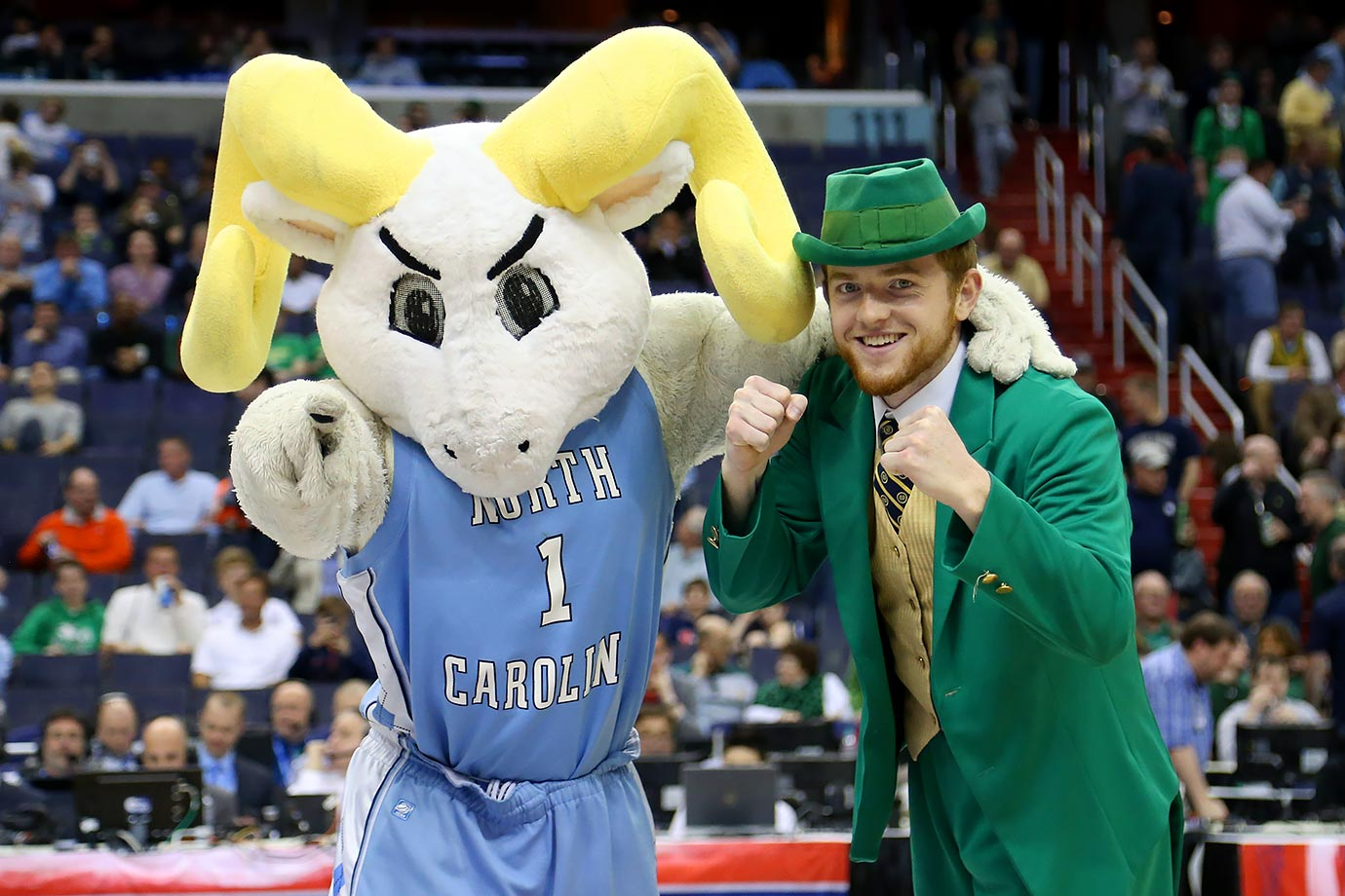 UNC mascot Rameses poses with Notre Dame mascot The Leprechaun before their ACC Tournament game in Washington, D.C.