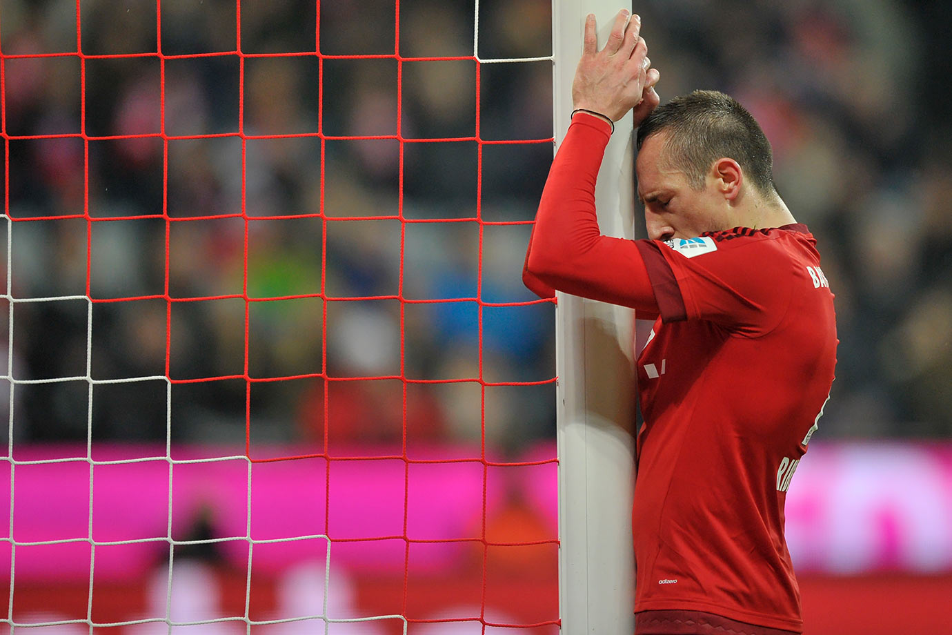 Bayern Muenchen midfielder Franck Ribery reacts after a missed chance during their Bundesliga match against Werder Bremen in Munich, Germany.