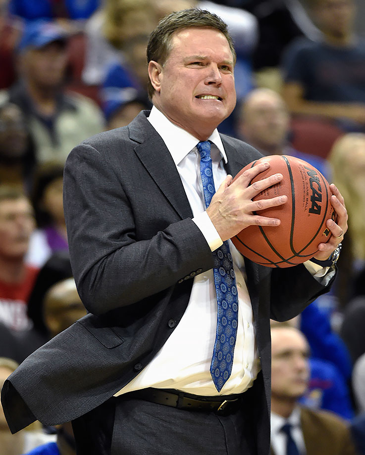 Kansas coach Bill Self reacts to his team's play during the first half of their game against Maryland in Louisville, Ky.